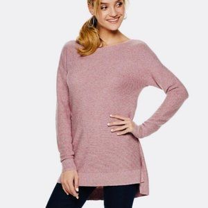 ELLE Pink Mauve Tunic Length Bow Back Sweater | S